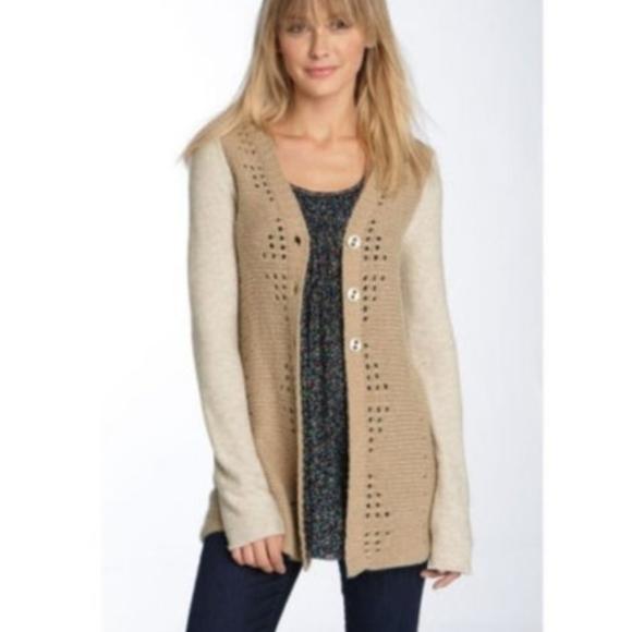 Free People Wool Blend Pinwheel Lace Cardigan